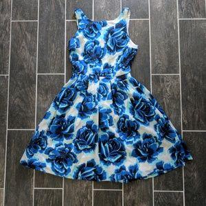 Anthropologie Blue Flower Dress 0